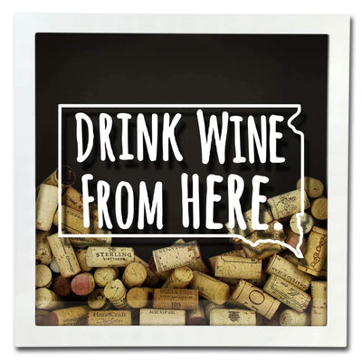 Torched Products Shadow Box South Dakota Drink Wine From Here Wine Cork Shadow Box (795785986165)