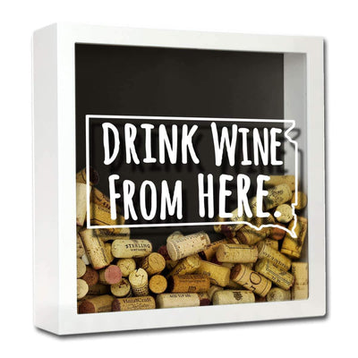 Torched Products Shadow Box White South Dakota Drink Wine From Here Wine Cork Shadow Box (795785986165)