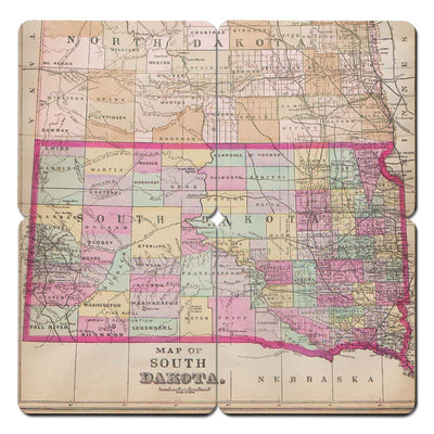 Torched Products Coasters South Dakota Old World Map Coaster (790602383477)