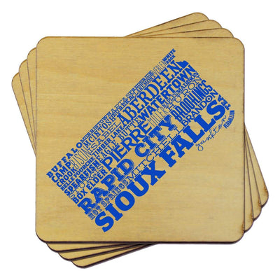 Torched Products Coasters South Dakota Typography Coaster (787841450101)