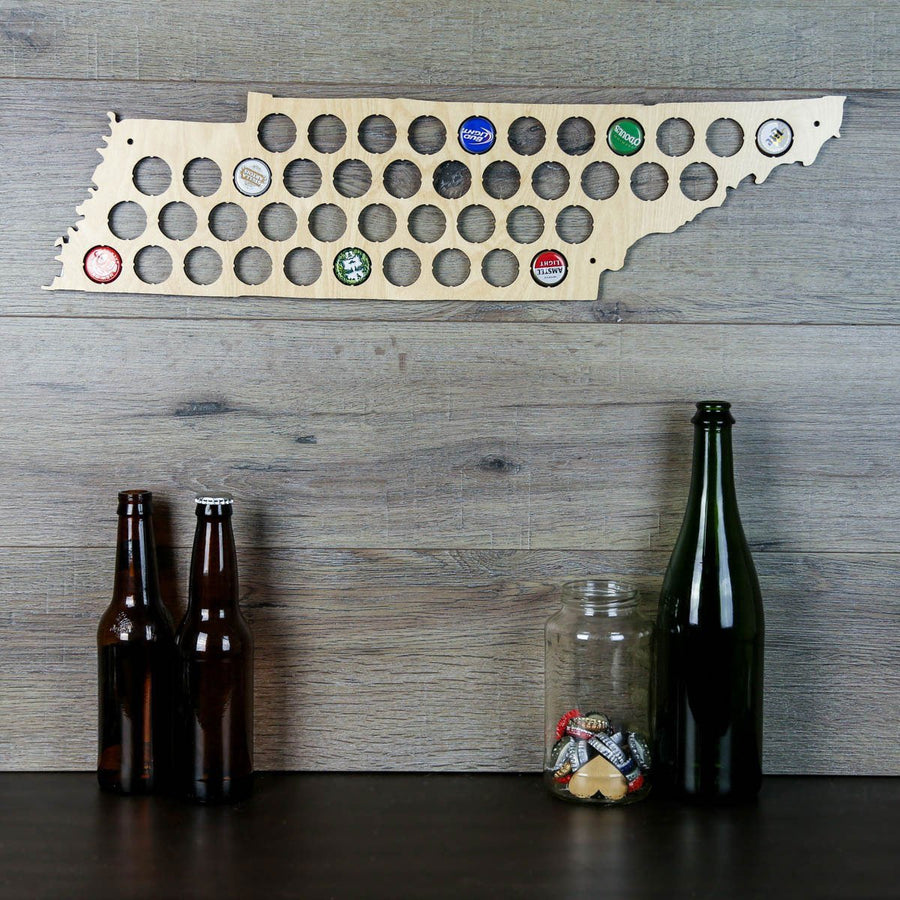 Torched Products Beer Bottle Cap Holder Tennessee Beer Cap Map