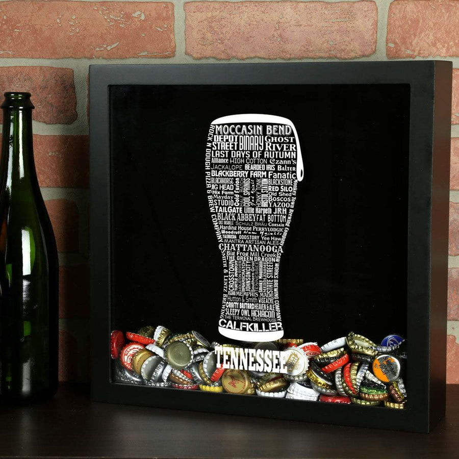 Torched Products Shadow Box Black Tennessee Beer Typography Shadow Box