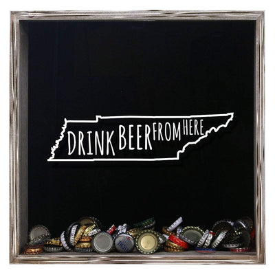 Torched Products Shadow Box Gray Tennessee Drink Beer From Here Beer Cap Shadow Box (781184499829)