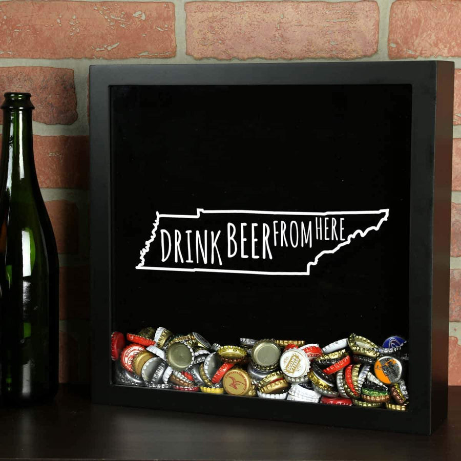 Torched Products Shadow Box Black Tennessee Drink Beer From Here Beer Cap Shadow Box (781184499829)