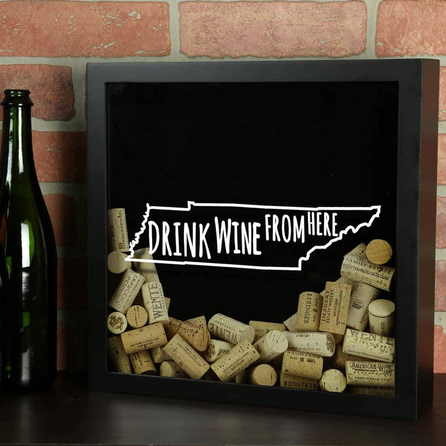 Torched Products Shadow Box Black Tennessee Drink Wine From Here Wine Cork Shadow Box (795789918325)
