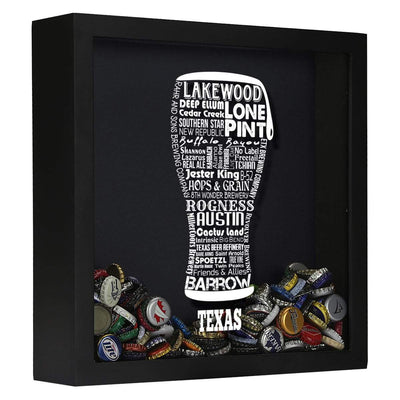 Torched Products Shadow Box Black Texas Beer Typography Shadow Box