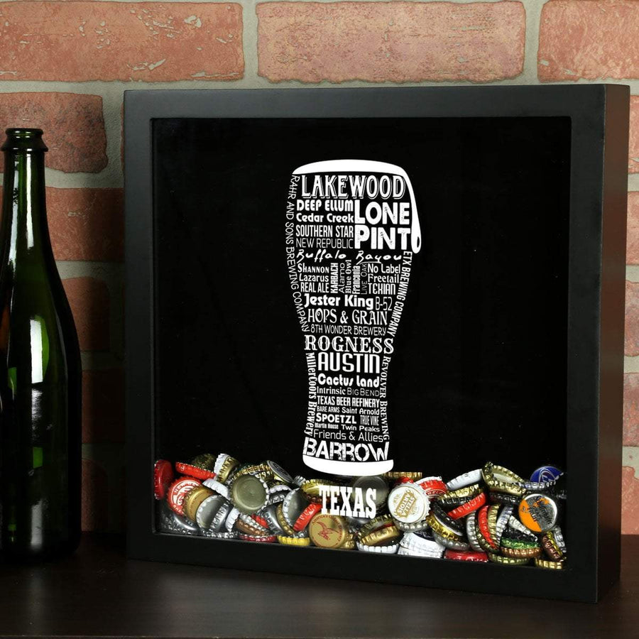 Torched Products Shadow Box Black Texas Beer Typography Shadow Box (779454939253)