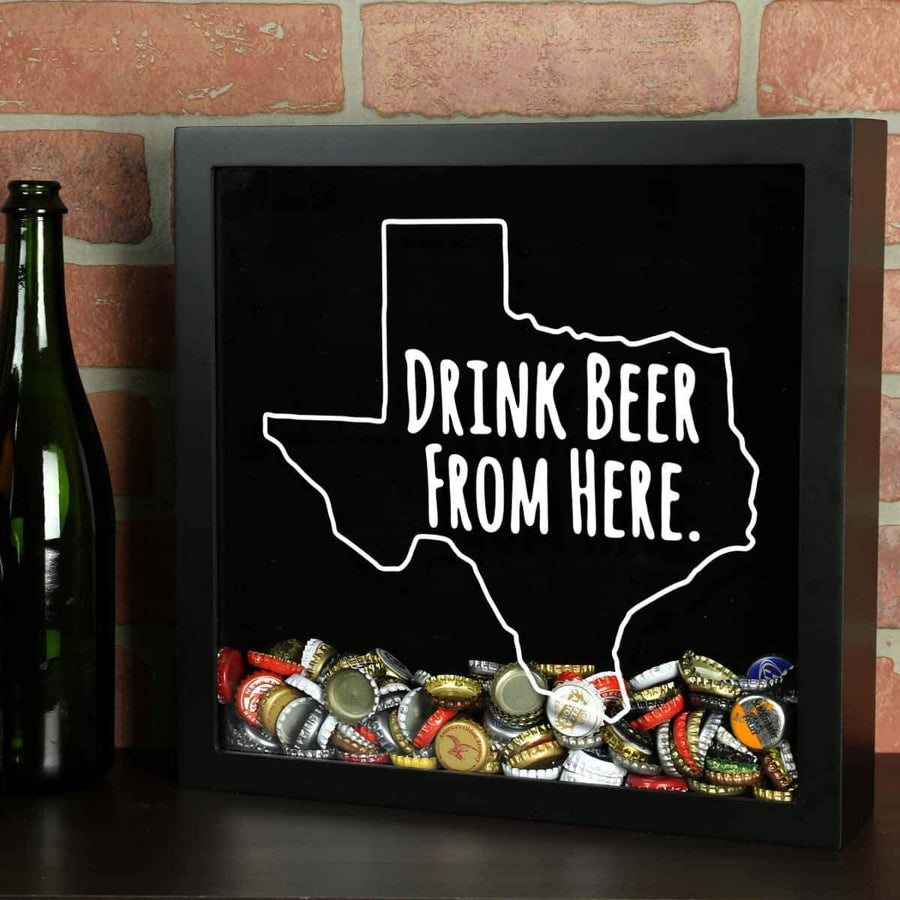 Torched Products Shadow Box Black Texas Drink Beer From Here Beer Cap Shadow Box