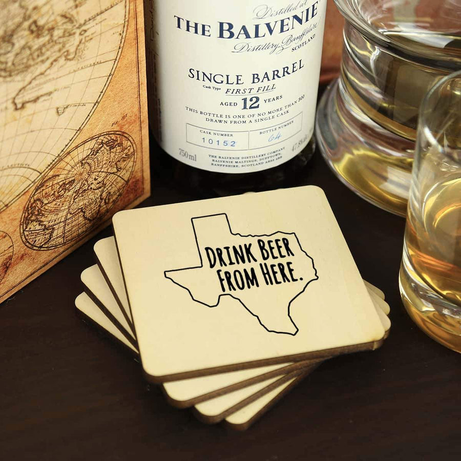 Torched Products Coasters Texas Drink Beer From Here Coasters