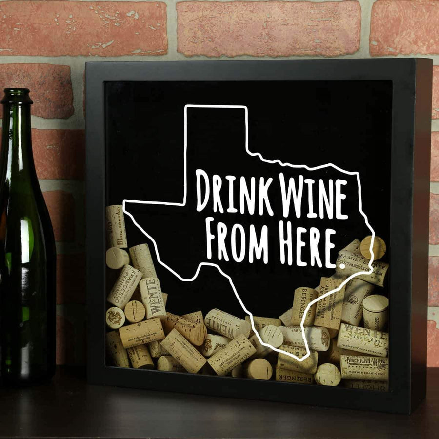 Torched Products Shadow Box Black Texas Drink Wine From Here Wine Cork Shadow Box (795790344309)