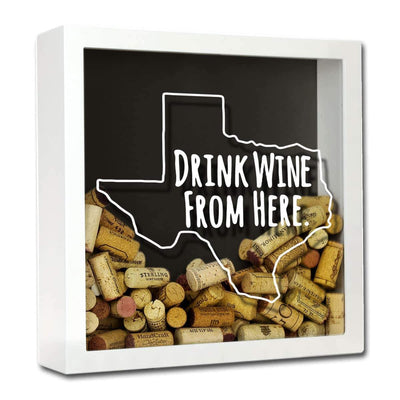 Torched Products Shadow Box White Texas Drink Wine From Here Wine Cork Shadow Box