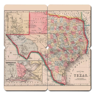 Torched Products Coasters Texas Old World Map Coaster (790602481781)