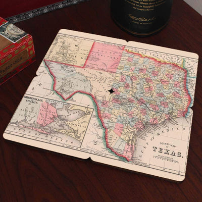 Torched Products Coasters Texas Old World Map Coaster
