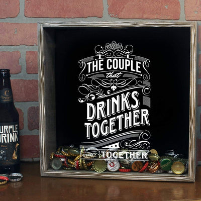 Torched Products Shadow Box Gray The Couple That Drinks Together Stays Together Shadow Box (778762813557)