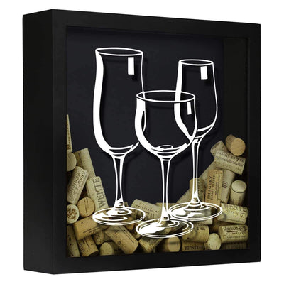 Torched Products Shadow Box Black Three Wine Glasses Wine Cork Shadow Box
