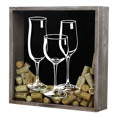 Torched Products Shadow Box Gray Three Wine Glasses Wine Cork Shadow Box