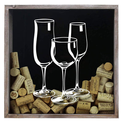 Torched Products Shadow Box Three Wine Glasses Wine Cork Shadow Box