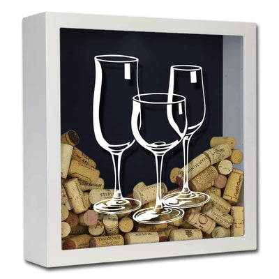 Torched Products Shadow Box White Three Wine Glasses Wine Cork Shadow Box