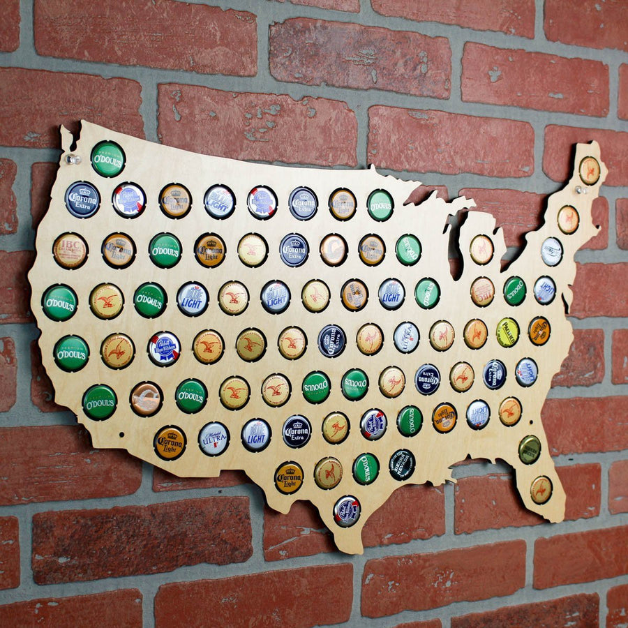 Torched Products Beer Cap Maps Regular USA Beer Cap Map