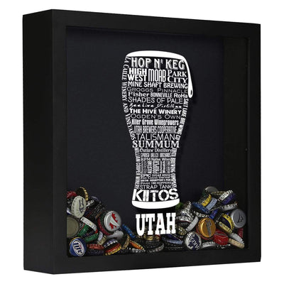 Torched Products Shadow Box Black Utah Beer Typography Shadow Box (779394351221)