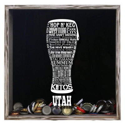 Torched Products Shadow Box Gray Utah Beer Typography Shadow Box (779394351221)