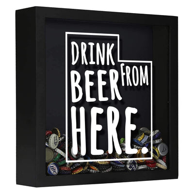 Torched Products Shadow Box Black Utah Drink Beer From Here Beer Cap Shadow Box (781184991349)