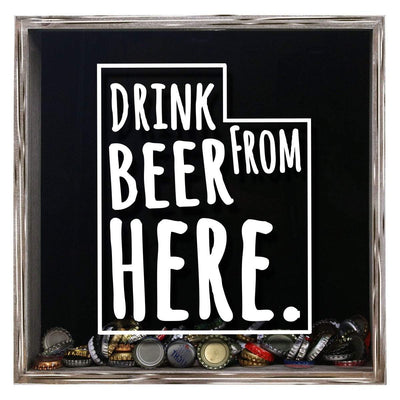 Torched Products Shadow Box Gray Utah Drink Beer From Here Beer Cap Shadow Box (781184991349)