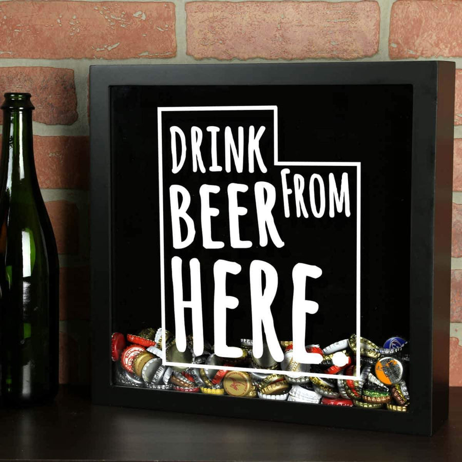 Torched Products Shadow Box Black Utah Drink Beer From Here Beer Cap Shadow Box
