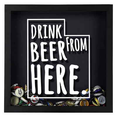 Torched Products Shadow Box Utah Drink Beer From Here Beer Cap Shadow Box