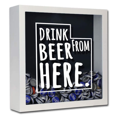 Torched Products Shadow Box White Utah Drink Beer From Here Beer Cap Shadow Box (781184991349)