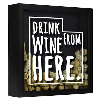 Torched Products Shadow Box Black Utah Drink Wine From Here Wine Cork Shadow Box (795790966901)