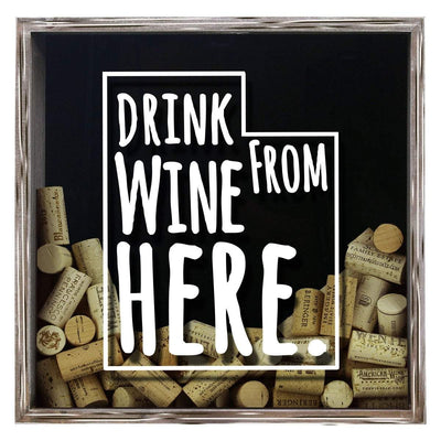 Torched Products Shadow Box Gray Utah Drink Wine From Here Wine Cork Shadow Box (795790966901)