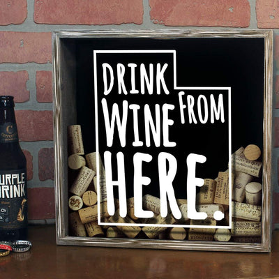 Torched Products Shadow Box Utah Drink Wine From Here Wine Cork Shadow Box (795790966901)