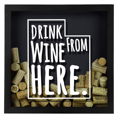 Torched Products Shadow Box Utah Drink Wine From Here Wine Cork Shadow Box