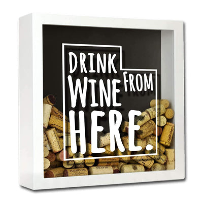 Torched Products Shadow Box White Utah Drink Wine From Here Wine Cork Shadow Box (795790966901)