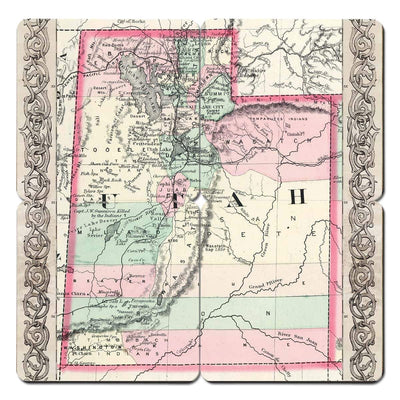 Torched Products Coasters Utah Old World Map Coaster (790603038837)