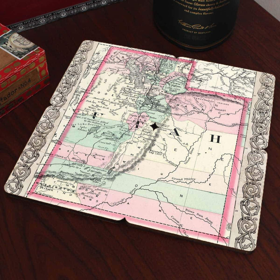 Torched Products Coasters Utah Old World Map Coaster