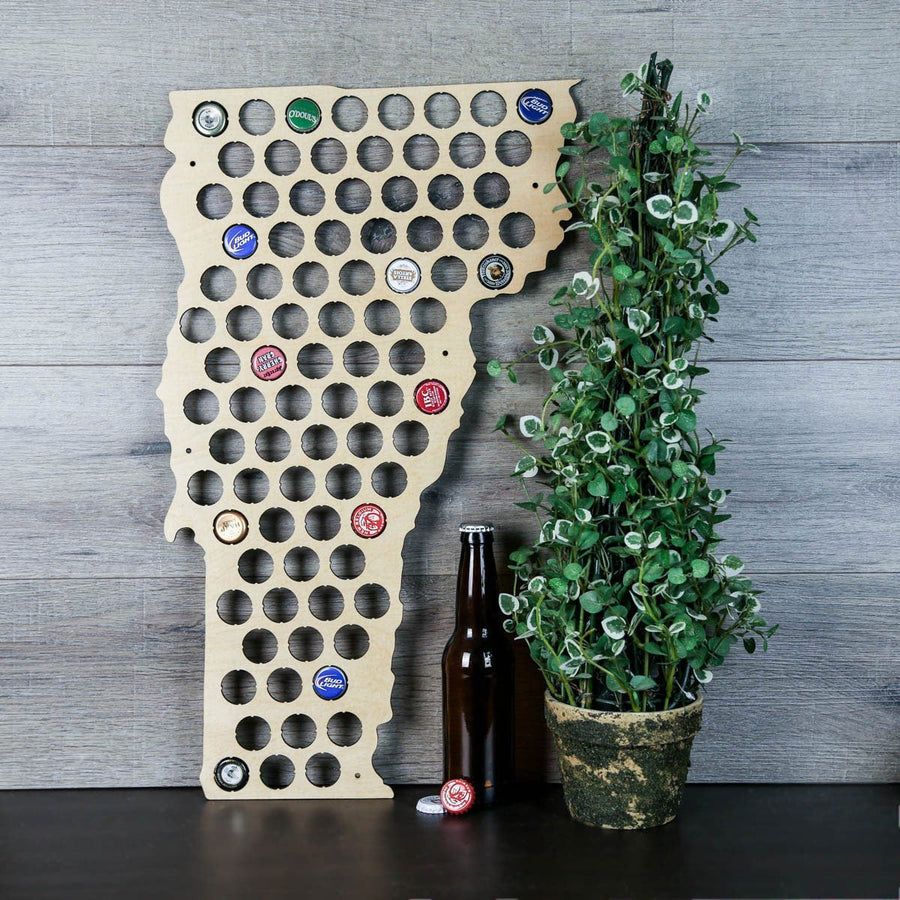 Torched Products Beer Bottle Cap Holder Vermont Beer Cap Map