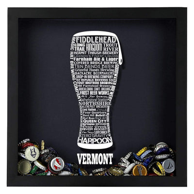 Torched Products Shadow Box Vermont Beer Typography Shadow Box
