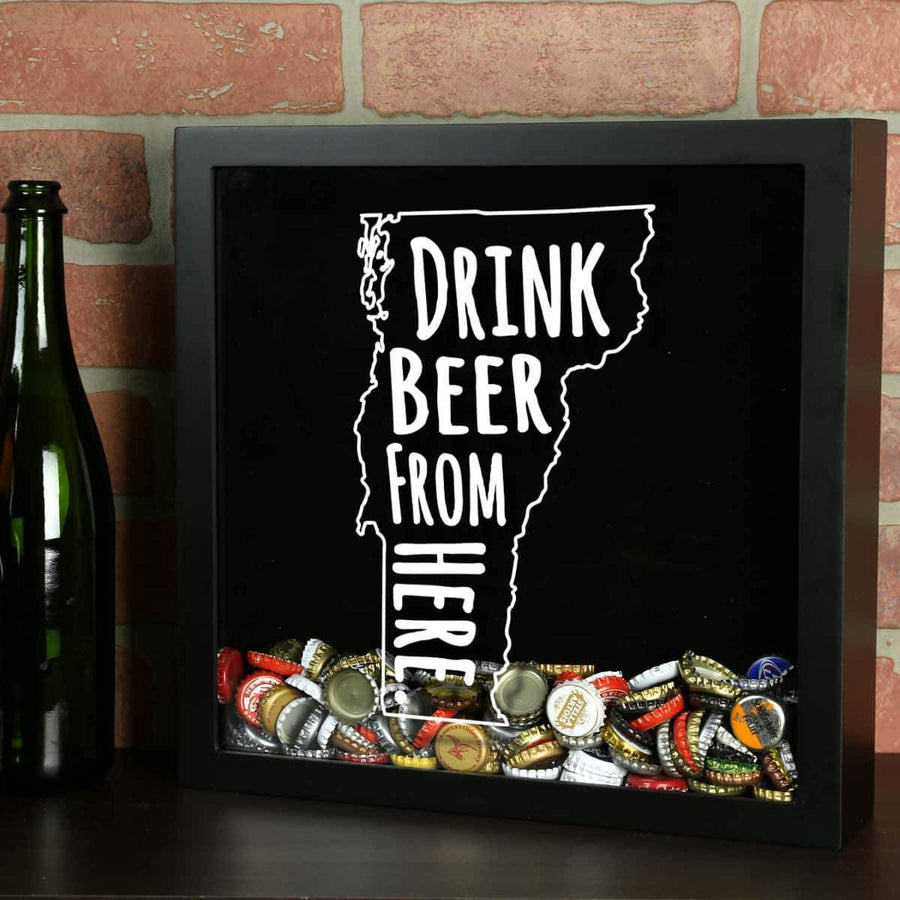 Torched Products Shadow Box Black Vermont Drink Beer From Here Beer Cap Shadow Box (781185581173)