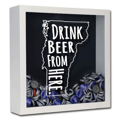 Torched Products Shadow Box White Vermont Drink Beer From Here Beer Cap Shadow Box (781185581173)