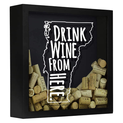 Torched Products Shadow Box Black Vermont Drink Wine From Here Wine Cork Shadow Box