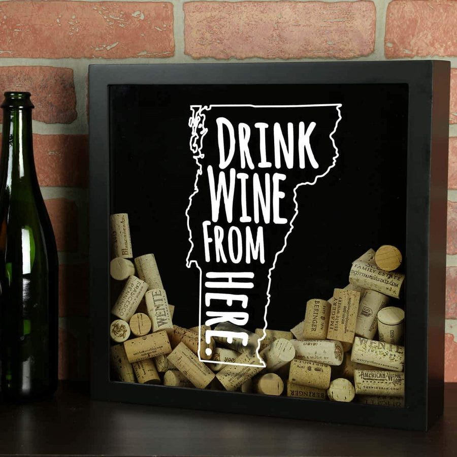 Torched Products Shadow Box Black Vermont Drink Wine From Here Wine Cork Shadow Box (795792572533)