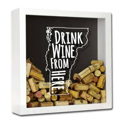 Torched Products Shadow Box White Vermont Drink Wine From Here Wine Cork Shadow Box