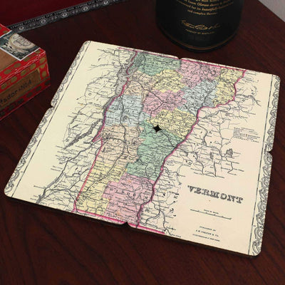 Torched Products Coasters Vermont Old World Map Coaster