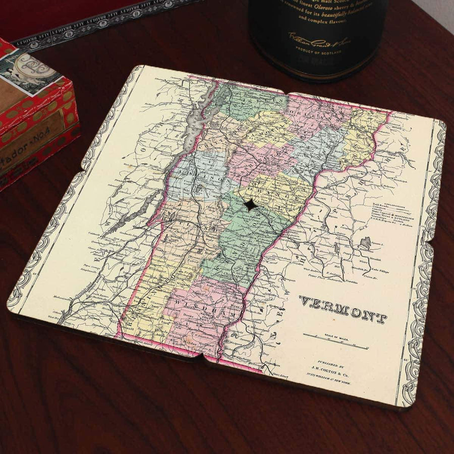 Torched Products Coasters Vermont Old World Map Coaster (790603137141)