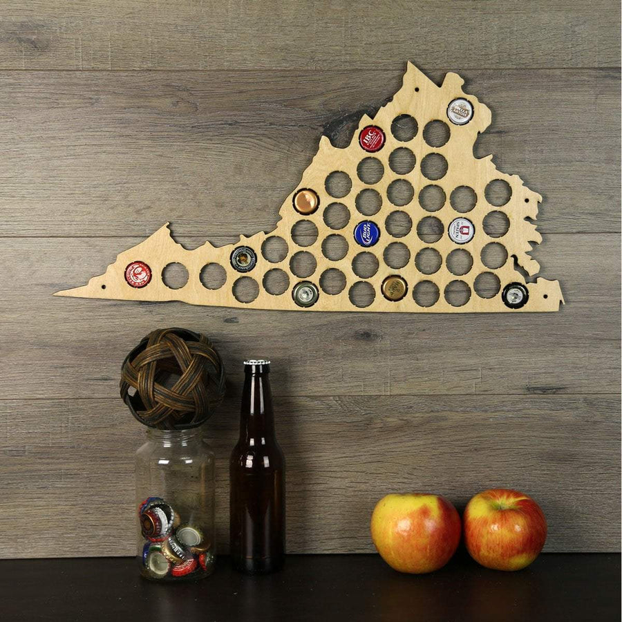 Torched Products Beer Bottle Cap Holder Virginia Beer Cap Map