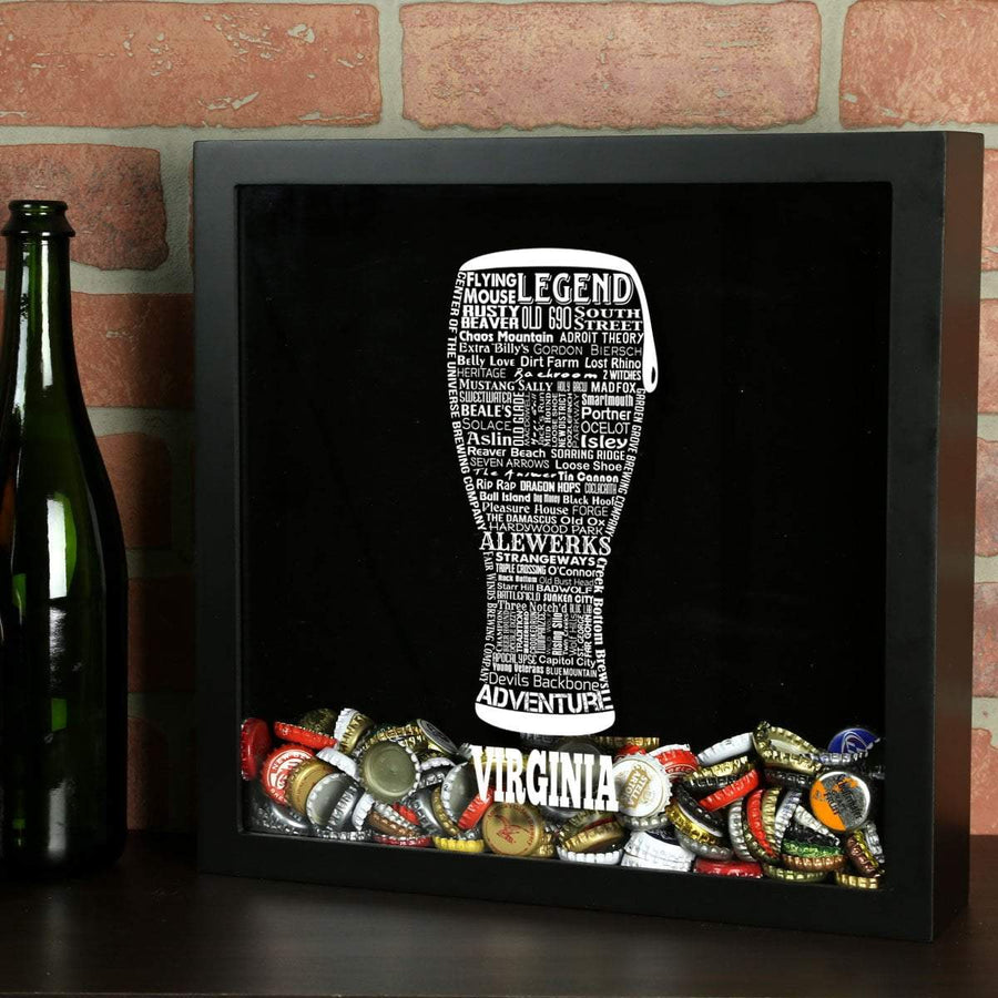 Torched Products Shadow Box Black Virginia Beer Typography Shadow Box