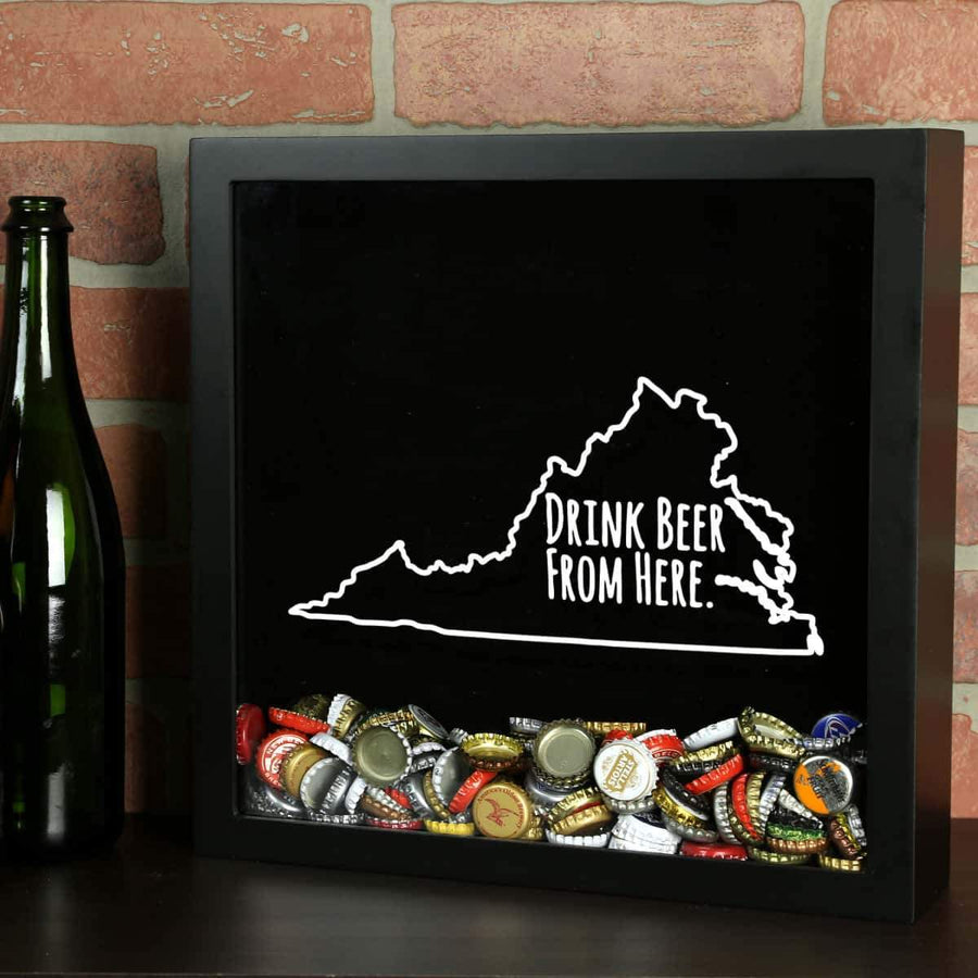 Torched Products Shadow Box Black Virginia Drink Beer From Here Beer Cap Shadow Box (781185482869)