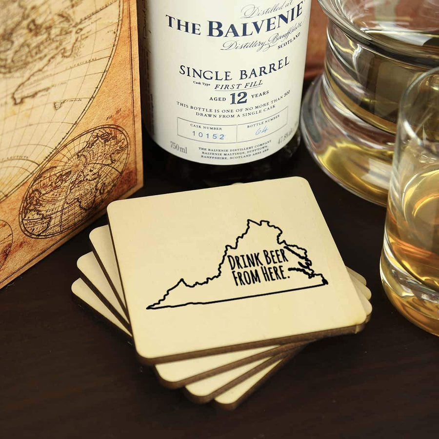 Torched Products Coasters Virginia Drink Beer From Here Coasters (781459325045)